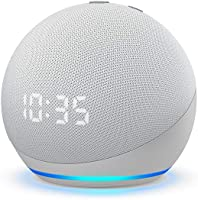 Echo Dot (4th Gen, 2020 release) with clock | Next generation smart speaker with powerful bass, LED display and Alexa...