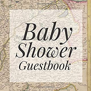 Baby Shower Guestbook: Vintage Antique Retro Map Atlas Travel Globe Signing Sign In Book, Welcome New Baby Girl with Gift Log Recorder, Address Lines, Prediction, Advice Wishes, Photo Milestones