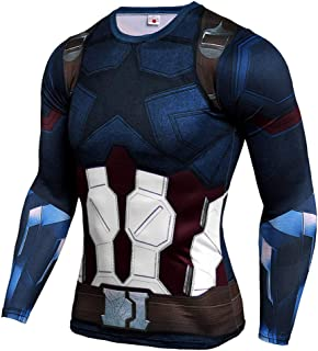 Mens Superhero Compression T Shirt Captain America Running Tee Slim Dri Fit