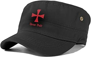 Deus Vult Knights Templar Cross Adult Cotton Flat Cap