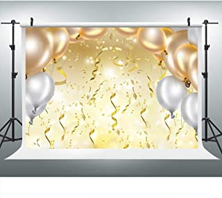 Grand Party Photography Backdrop, 9x6FT, Golden Balloons Ribbons Background, Great for Prom, Graduation, Wedding, Birthday Party Props LYLU262