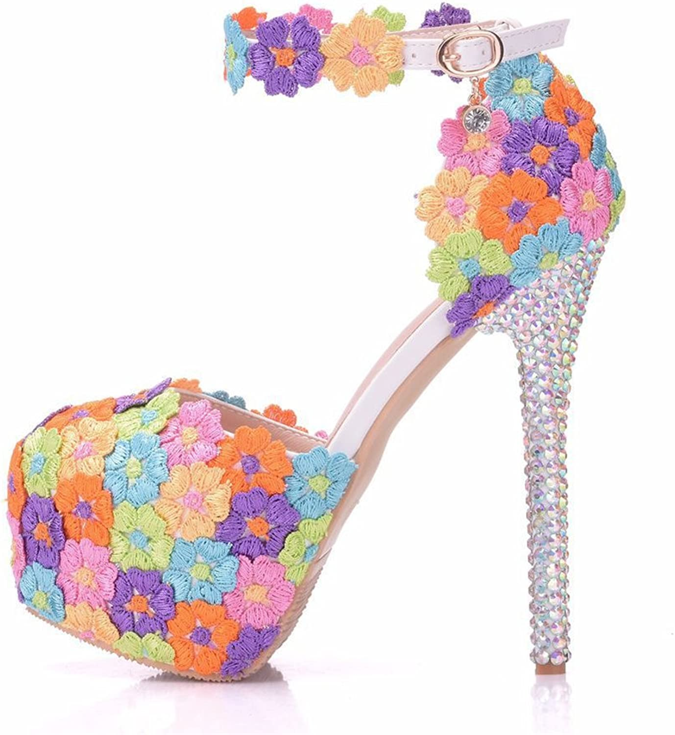 SUNNY Store Women's Pumps Lace colorful Flowers High Heels Sandals