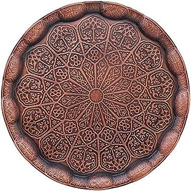 Decorative Tray, Turkish Tray, Coffee Tea Serveware, Antique Design, Copper Color, Platters, Decorative Platter, Serve Dish