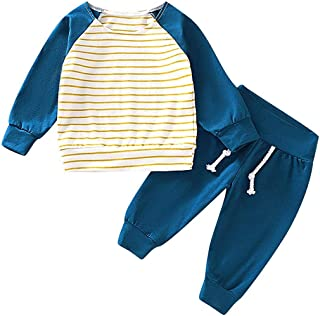 Christmas Merry Wishes 2020 2PCS Newborn Baby Girl Romper Jumpsuit Striped T-Shirt Tops +Pants Outfit Set Long Sleeves Bod...