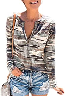 S-Fly Womens Ribbed V Neck Knit Casual Camouflage Long Sleeve T Shirts