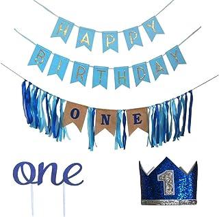 Happy Birthday Banner, 1st Birthday Highchair Banner, One Cake Topper, No.1 Birthday Hat, Baby Boy First Birthday Supplies...