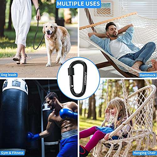 Prosperity UK Carabiner Clip 4 pcs   Strong Black Aluminium Hook D-shaped D-ring locking spring snap mechanism with screw Use:keychain, hiking, camping, traveling, fishing, lifting.