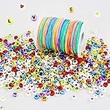 LEBENSWERT 1200 Stück Buchstaben Herz Perlen mit 100m Elastische Schnur 1mm Regenbogen Perlenschnur DIY Handwerk Beading Cord String Perlen zum Auffädeln Kinder Gummiband für Armbänder...