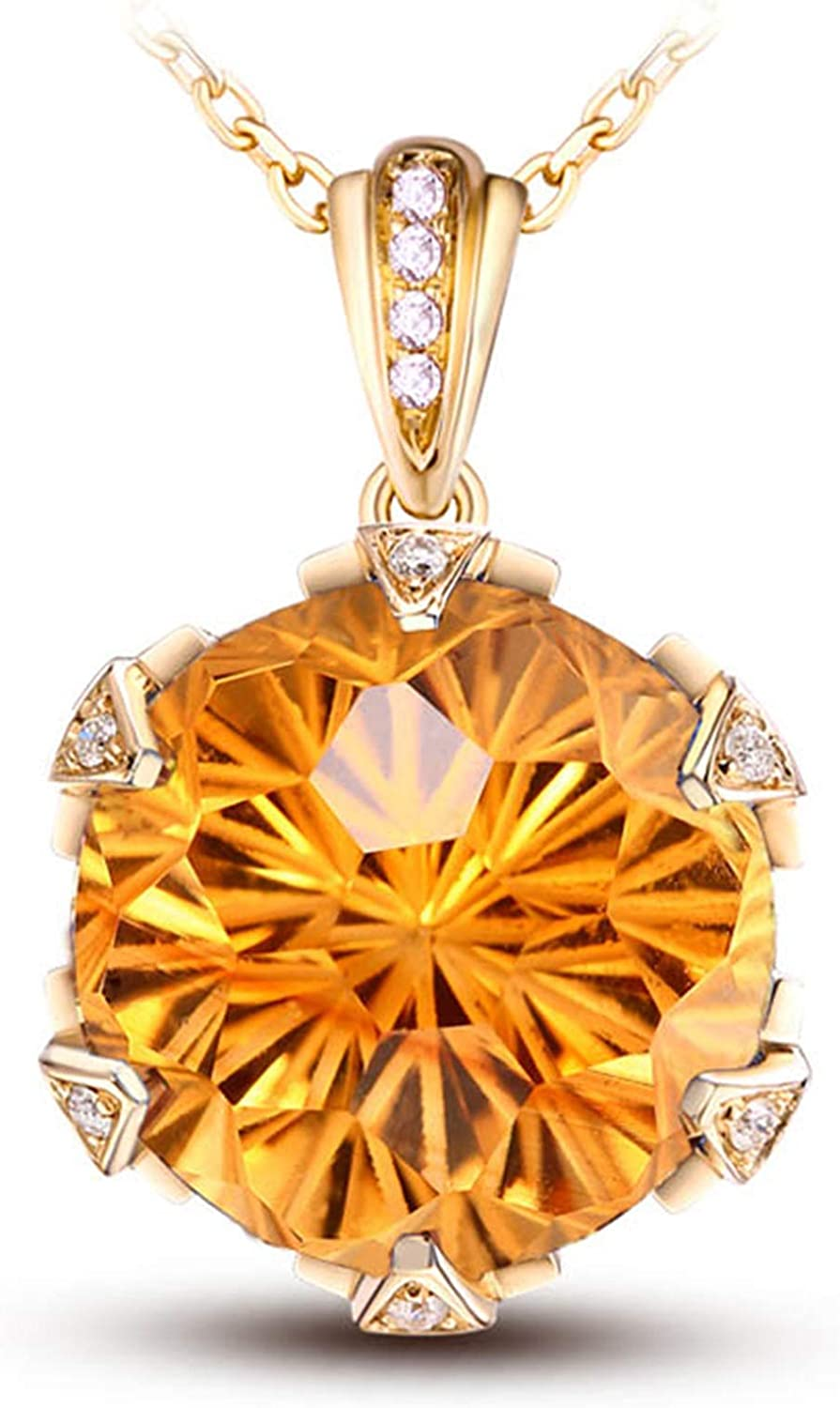 Aokarry 14K Gold Necklace for Raleigh Mall Round Womens Citrine Ranking TOP2