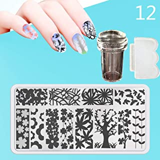 Zmond - New 12X6cm 44 Style Nail Stamping Plates Set Made Stencils Lace Flower DIY Nail Art Templates+Transparent Stamper Stamp Scraper [ 12 ]