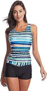 FEOYA Women Plus Racerback Swimwear Printed V Neck Tankini Top