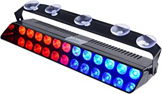 WOWTOU Emergency Strobe Dash Light Blue Red 16W 12 LED with 16 Flash Patterns for Police Hazard Warning Cars POV Traffic Advisors