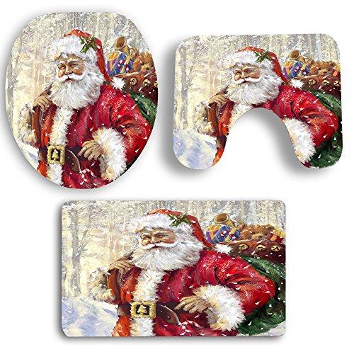 DOGZI Schmutzfangmatte Fußmatte Aussen Innenbereich Bodenschutzmatte Teppich - 3PCS Weihnachten Bad Rutschfeste Sockel Teppich + Deckel WC Cover + Badematte Set