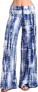 Womens Casual Tie Dye Solid Wide Leg Bottom Boho Hippie Lounge Palazzo Pants S-3XL