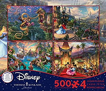 Ceaco  4  500 Piece Thomas Kinkade - Disney Dreams 4 in 1 Multipack Jigsaw Puzzles - Tangled Sleeping Beauty Peter Pan and Mickey and Minnie - Ages Kids and Adults
