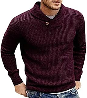 Macondoo Mens Turtle Neck Pullover Knitted Soft Jumper Solid Sweater