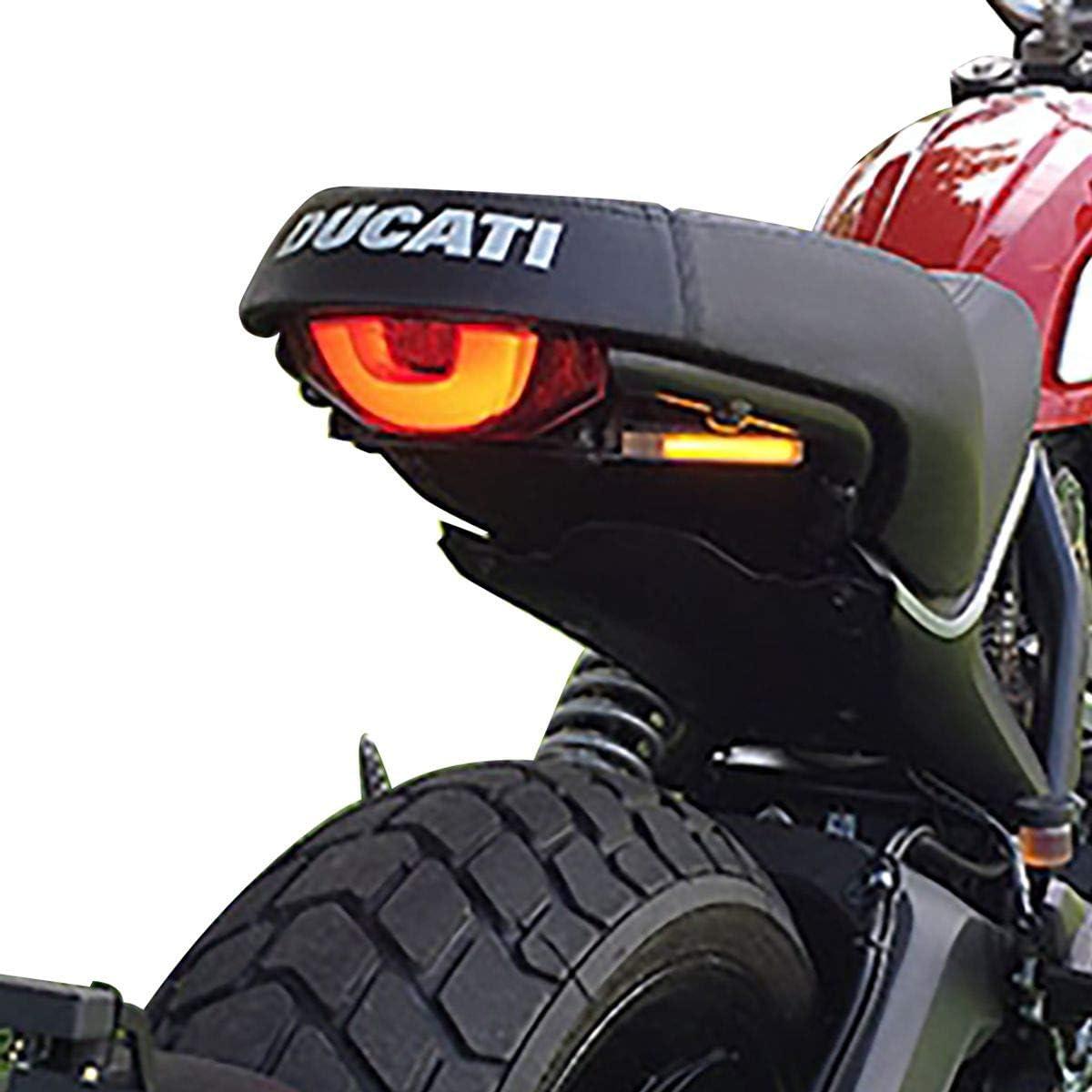 Green TESWNE Universal Motorcycle LED Light Rear License Plate Holder Adjustable Fender Eliminator Bracket for Yamaha for Kawasaki for Ducati