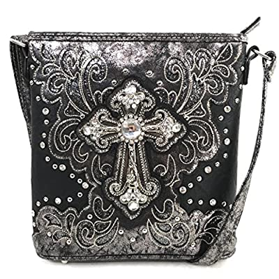 Justin West Bling Gleam Rhinestone Cross Floral Messenger Bag Purse with Long Cross Body Strap