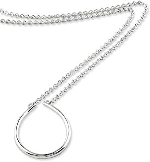 925 Sterling Silver Oval Pendant Holder 17in Chain Necklace Charm Fine Jewelry Gifts For Women For Her