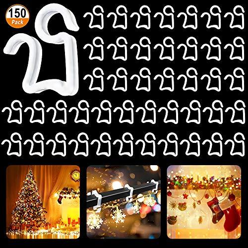150PCS Kerstlichtklemmen Goot Hanghaken Mini Plastic buiten Hanglampen Haken voor feestverlichting Verjaardag Decoratie Goot Dakspanen Lichtslingers Wit