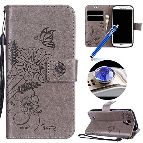 Etsue Kompatibel mit Samsung Galaxy S4 Schutzhülle Handytasche Flip Tasche Case Leder Hülle Schmetterling Blume Luxus Vintage Handyhülle Leder Tasche Brieftasche Hülle -Schmetterling Blume,Grau