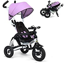Costzon Baby Tricycle, 6-in-1 Foldable Steer Stroller, Learning Bike w/Detachable Guardrail, Adjustable Canopy, Safety Harness, Folding Pedal, Storage Bag, Brake, Shock Absorption Design