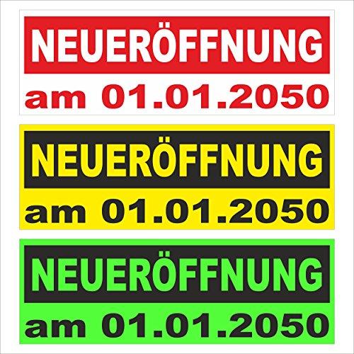 Neu-eröffnung mit Datum – freie Farbwahl – 150x50cm - stabile 520g PVC Werbe-plane – in 3 Größen (150x50cm, 250x70cm, 300x100cm) verfügbar – P00002-006-1500x500
