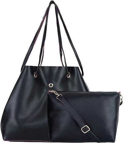 Women s Handbag With Sling Bag Set of 2 Auriel Jhola Black Black