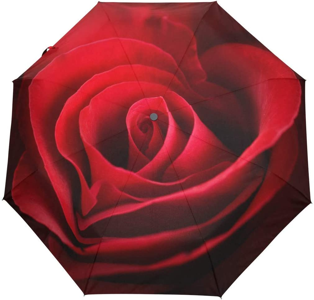 Valentine Red Rose Auto Open Close 3 5 ☆ popular Umbrella We OFFer at cheap prices Lightweight Folds