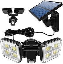OSALADI Luzes solares para ambientes externos LED com sensor de movimento solar 2 cabeças de segurança LED holofote ilumin...