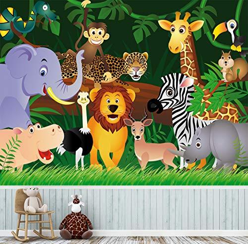 Fototapete selbstklebend | Tiere im Dschungel II | in 360x270 cm | Kindertapete Tapete Wand-deko Dekoration Kinderbild Kinderzimmer Jungs Mädchen