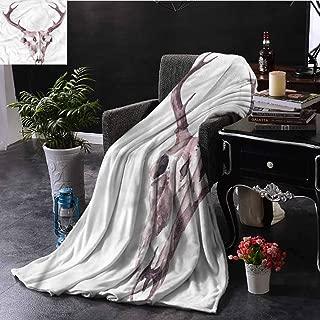 EDZEL Decorative Throwing Blanket Antler Artistic Abstract Deer Skull All Season Blanket 59x35 Inch