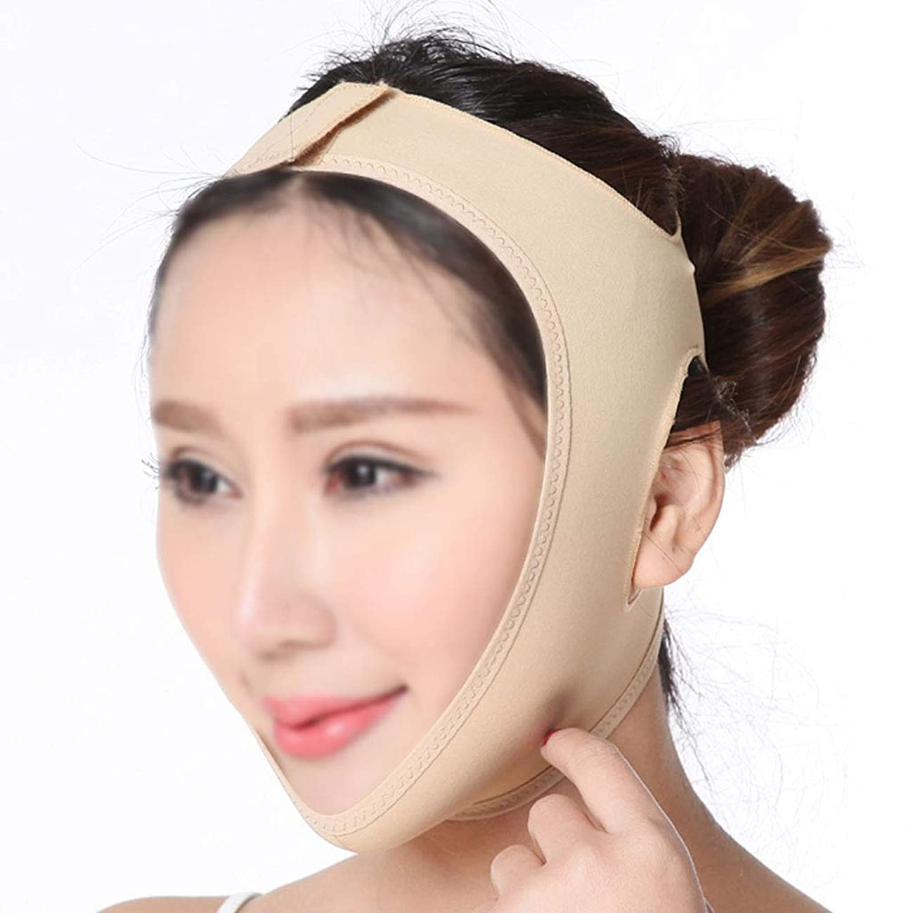 憂鬱ジェムわかりやすいGLJJQMY 薄い顔のアーティファクトVマスク薄い顔の包帯/顔の引き締め痩身包帯通気性二重あご減量マスク 顔用整形マスク (Size : L)