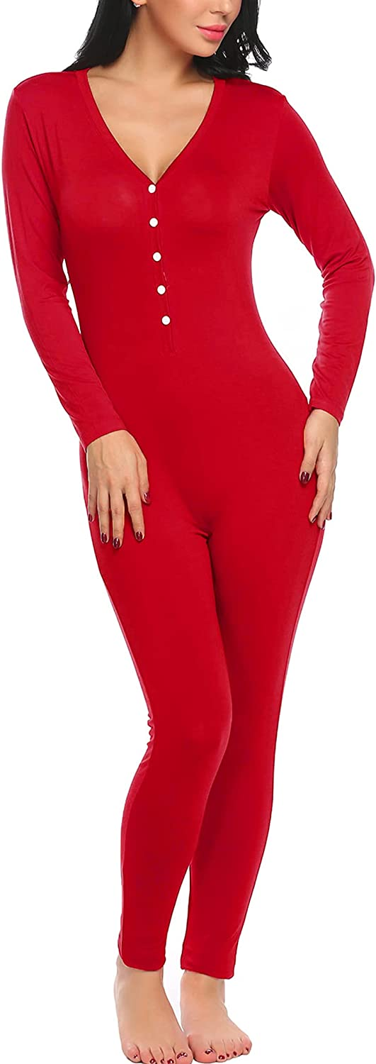 Ekouaer Bandage Jumpsuit Romper Thin Lightweight Thermal Underwear for Women,Red,Large