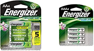 Energizer Rechargeable AA Batteries, NiMH, 2000 mAh, Pre-Charged, 4 count (Recharge Universal) & Rechargeable AAA Batteries, NiMH, 800 mAh, Pre-Charged, 4 count (Recharge Power Plus) - EVENH12BP4