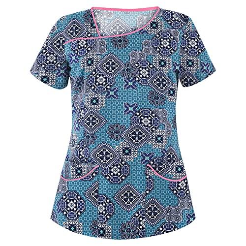 Camiseta con Bolsillo De Manga Corta Y Cuello En V Estampada para Mujer De Estilo Nuevo De Verano Top para Mujer