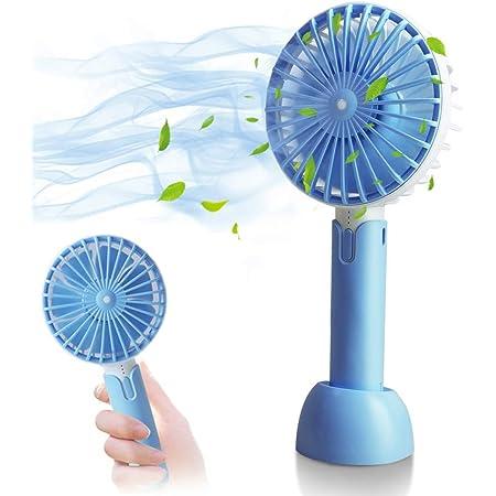 HOTLIFE Mini USB Ventilateur à Main, USB Rechargeabl avec 3 Vitesses Réglable Portable Fan, 2 en 1-Batterie Rechargeable 2600mAh Ventilateur Mini Fan pour Maison Bureau et Voyage (Blue)