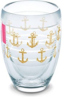 Tervis 1267721 Simply Southern Gold Anchors 9 oz Stemless Wine Glass, 9oz, Clear