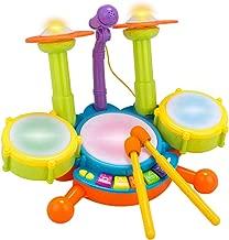 Chilartalent Kids Drum Set Toddler Toys - Mini Jazz Drum with Microphone Flash Light Music Children's Toy Musical Instruments