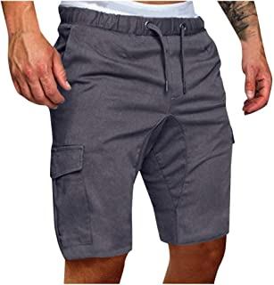 iLXHD Men Board Shorts Summer Drawstring Casual Elastic Work Short Beach Shorts with Pockets