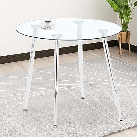 GOLDFAN Table à Manger Ronde Table en Verre de Cuisine Design rétro avec Pieds en métal pour Bureau de Salon de Salle à Manger (Argent)