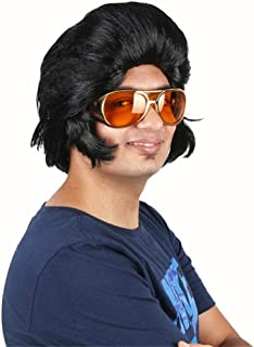 YEMOCILE Men's Black Fluffy Long Mid-length Costume Party Curly Halloween Cosplay Synthetic Hair Wigs Cat Sanno With Cap (...