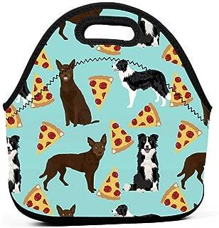 オーストラリアのケルピーとボーダーコリーピザかわいい犬かわいいピザオーストラリアのケルピーかわいい犬ランチバッグ断熱サーマルランチトートアウトドア旅行ピクニックキャリーケースランチボックスハンドバッグジッパー付き