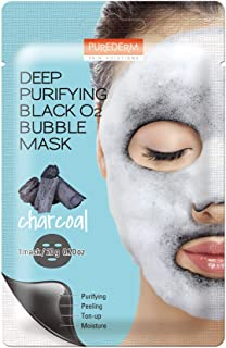 PUREDERM Deep Purifying Black O2 Bubble Sheet Mask Charcoal - 1 Piece