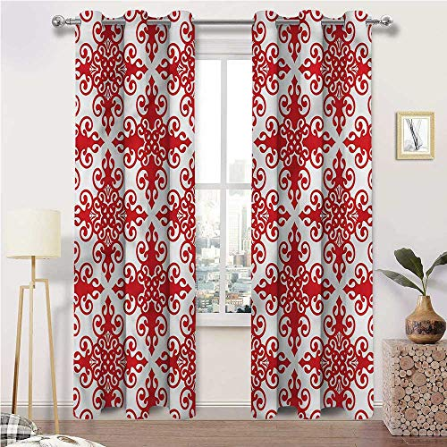 Interestlee Blackout Curtains for Bedroom, Red Thermal Prevent Noise Grommet Drapes, Western Scroll Ornament Set of 2 Panels, 84 Width x 96 Length