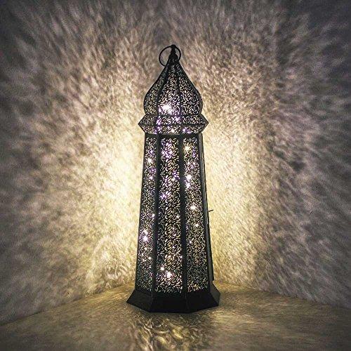 albena shop 73-118 Torre orientalische Laterne schwarz Metall (58 cm mit LED Lichterkette)