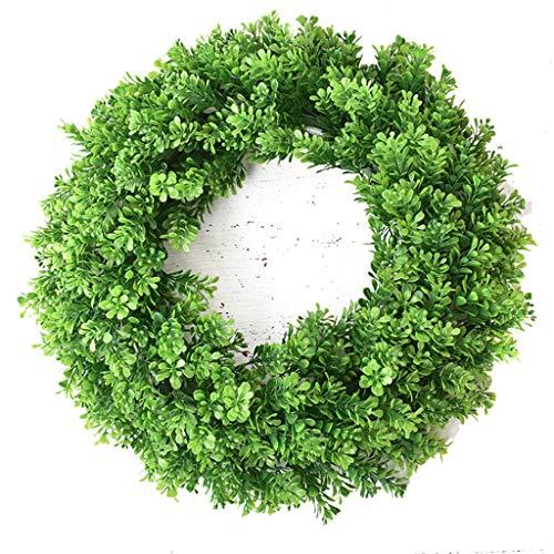 LXLTL Künstliche Buchsbaumkranz Grüne Blätter Haustür Kranz Im Freien Grünen Kranz Für Haustür Hängen Wand Fenster Hochzeit Party Decor 47 cm