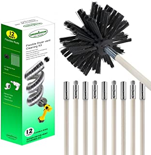 Chimney Brush Dryer Lint Brush Chimney Sweep Kit, Extends Up To 12 Feet, 9 Rods+1 Brush Head, Use With or Without Power Drill
