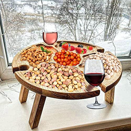 Shujin Mesa de vino plegable al aire libre Mesa de vino plegable al aire libre Mesa de picnic Mesa plegable portátil 2...