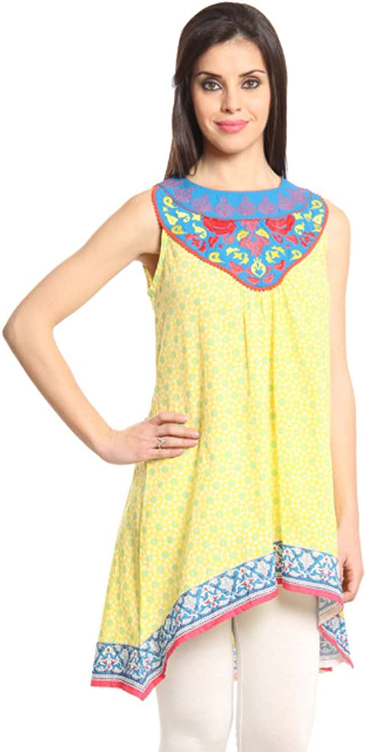 Indian Handicrfats Export Mirage Red & White Kurti with Printed Waistcoat (Size  S)